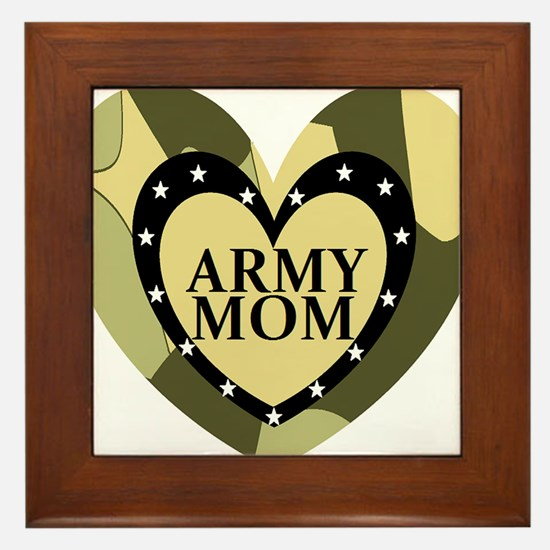ARMY MOM CAMOUFLAGE HEART Framed Tile