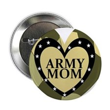 """ARMY MOM CAMOUFLAGE HEART 2.25"""" Button"""