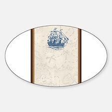 Nautical Vintage Ship Treasure Map Sticker (Oval)