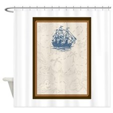 Nautical Vintage Ship Treasure Map Shower Curtain