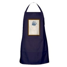 Nautical Vintage Ship Treasure Map Apron (dark)