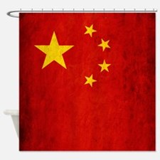 China Grunge Flag Shower Curtain
