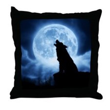 Cries of the Night Wolf Blue Throw Pillow