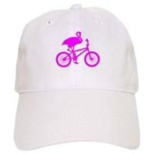 Pink Flamingo on Bicycle Baseball Cap