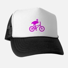 Pink Flamingo on Bicycle Trucker Hat