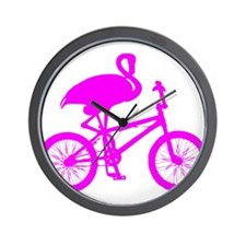 Pink Flamingo on Bicycle Wall Clock