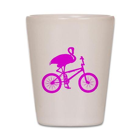 Pink Flamingo on Bicycle Shot Glass