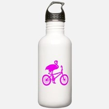 Pink Flamingo on Bicycle Water Bottle