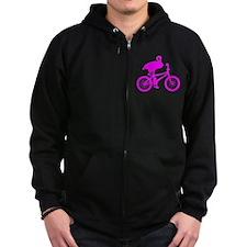 Pink Flamingo on Bicycle Zip Hoodie