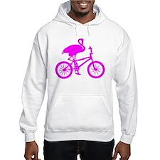 Pink Flamingo on Bicycle Hoodie