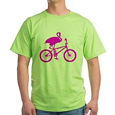 Pink Flamingo on Bicycle T-Shirt