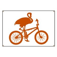 Orange Flamingo on Bicycle Banner