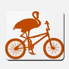 Orange Flamingo on Bicycle Mousepad