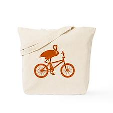 Orange Flamingo on Bicycle Tote Bag
