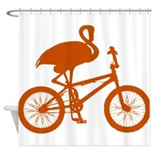 Orange Flamingo on Bicycle Shower Curtain