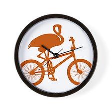 Orange Flamingo on Bicycle Wall Clock