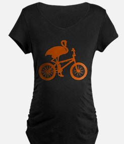 Orange Flamingo on Bicycle T-Shirt