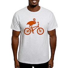 Orange Flamingo on Bicycle T-Shirt