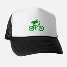 Green Flamingo on Bicycle Trucker Hat