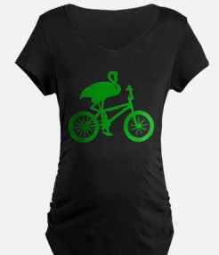 Green Flamingo on Bicycle T-Shirt