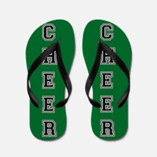 Cheer Green and Black Flip Flops
