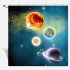 New Solar System Shower Curtain