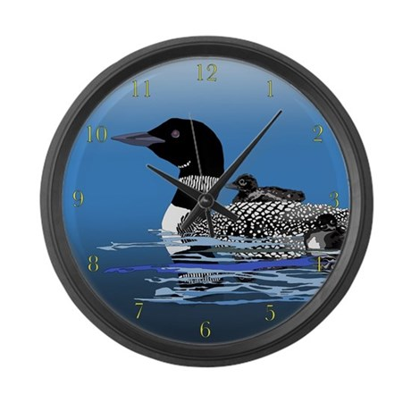 loon with babies Large Wall Clock