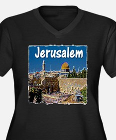 jerusalem Women's Plus Size V-Neck Dark T-Shirt