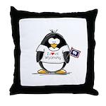 Wyoming Penguin Throw Pillow
