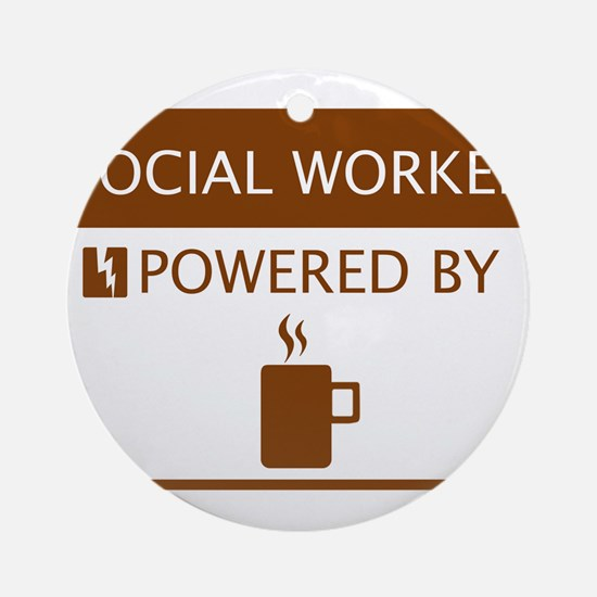 Social Worker Powered by Coffee Ornament (Round)