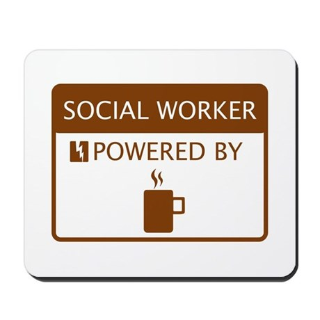 Social Worker Powered by Coffee Mousepad
