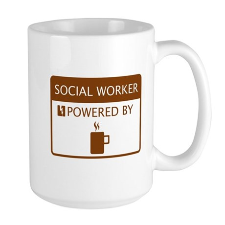 Social Worker Powered by Coffee Large Mug