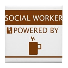 Social Worker Powered by Coffee Tile Coaster