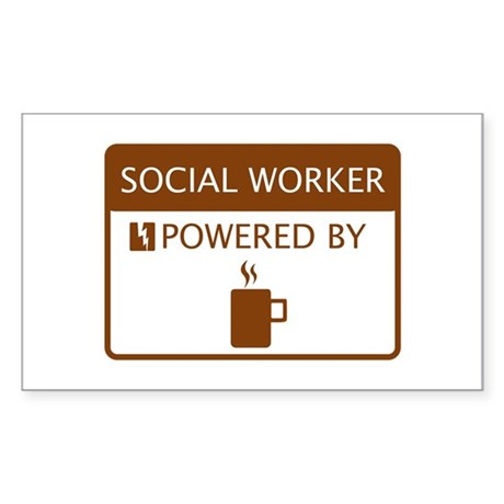 Social Worker Powered by Coffee Sticker (Rectangle