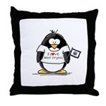 West Virginia Penguin Throw Pillow