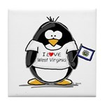 West Virginia Penguin Tile Coaster