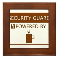 Security GuardPowered by Coffee Framed Tile