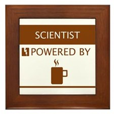 Scientist Powered by Coffee Framed Tile