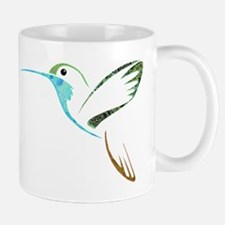Blue and Green Patchwork Hummingbird Mug