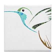 Blue and Green Patchwork Hummingbird Tile Coaster