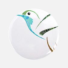 "Blue and Green Patchwork Hummingbird 3.5"" Button"