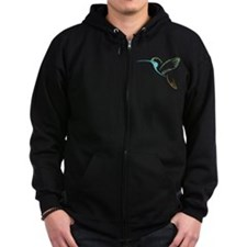 Blue and Green Patchwork Hummingbird Zip Hoodie