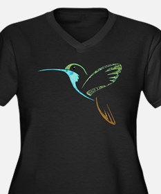 Blue and Green Patchwork Hummingbird Women's Plus