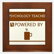 Psychology Teacher Powered by Coffee Framed Tile