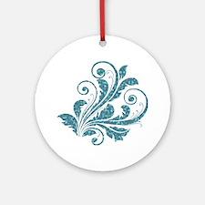 Blue Artistic Floral Ornament (Round)