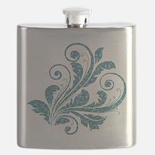 Blue Artistic Floral Flask