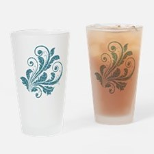 Blue Artistic Floral Drinking Glass