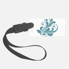 Blue Artistic Floral Luggage Tag