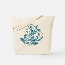 Blue Artistic Floral Tote Bag