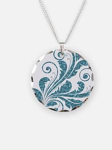 Blue Artistic Floral Necklace